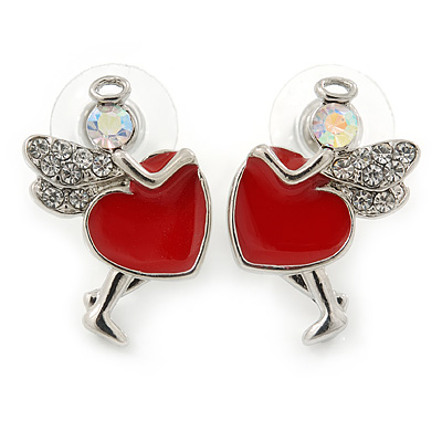 Funky Crystal Fairy with Red Enamel Heart Stud Earrings In Rhodium Plating - 23mm L