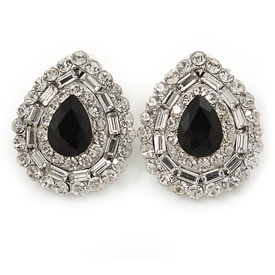 Statement Clear/ Black CZ Teardrop Stud Earrings In Rhodium Plating - 35mm L