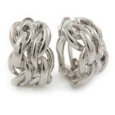 C-Shape Plaited Clip-on Earrings In Rhodium Plating - 20mm L