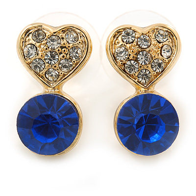 Small Clear/ Sapphire Crystal Heart Stud Earrings In Gold Plating - 18mm L - main view