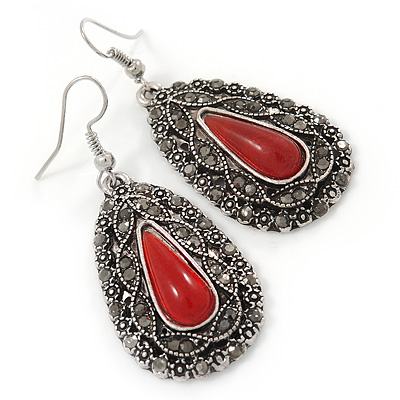 Teardrop Hematite Crystal, Red Resin Drop Earrings In Silver Tone - 50mm L