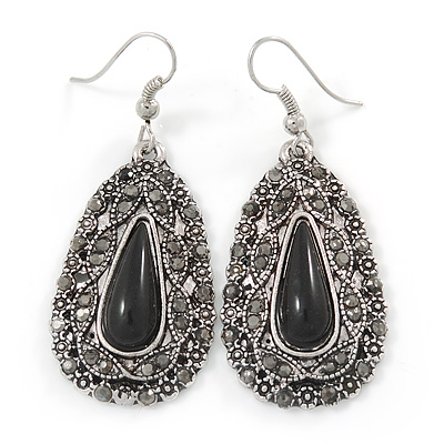 Teardrop Hematite Crystal, Black Resin Drop Earrings In Silver Tone - 50mm L