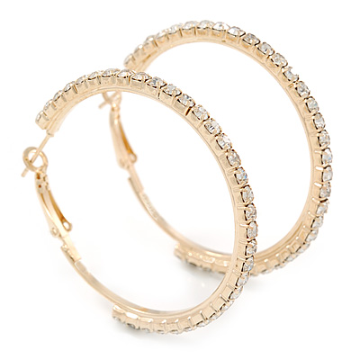 Gold Plated Clear Crystal Hoop Earrings - 45mm