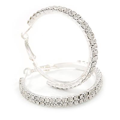 Two Row Crystal Hoop Earrings In Silver Tone - 45mm D