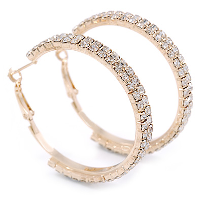 Two Row Crystal Hoop Earrings In Gold Tone - 45mm D