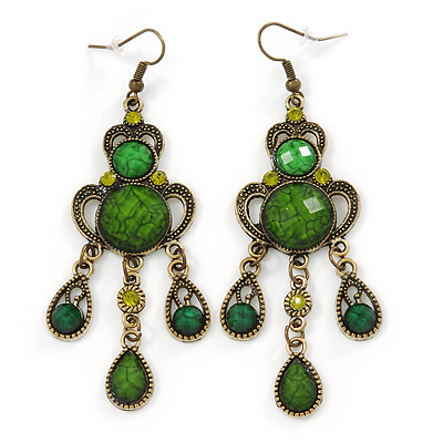 Victorian Style Green/ Olive Acrylic Bead Chandelier Earrings In Antique Gold Tone - 80mm L
