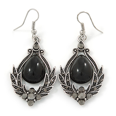Victorian Style Black Glass, Hematite Crystal Drop Earrings In Silver Tone - 55mm L - main view