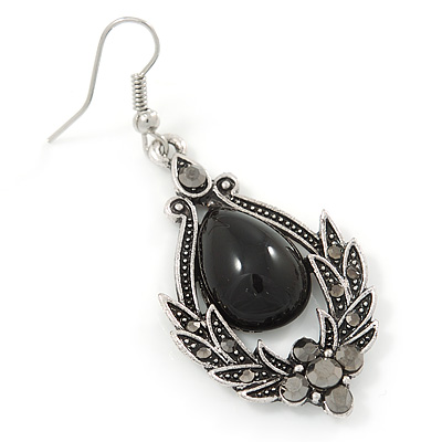 Victorian Style Black Ceramic Stone Diamond Drop Earrings In Silver Tone 50mm