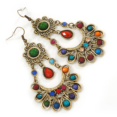 Multicoloured Acrylic Bead Chandelier Earrings In Gold Tone - 90mm L