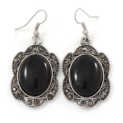 Victorian Style Black Resin Stone Oval Drop Earrings In Burnt Silver Tone - 50mm L