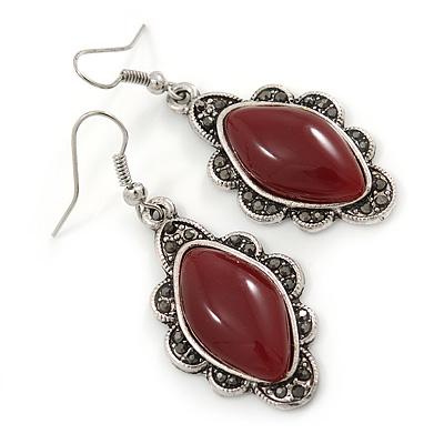 Victorian Style Dark Red Ceramic Stone Diamond Drop Earrings In Silver Tone - 50mm L