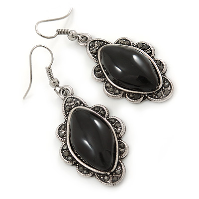 Victorian Style Black Ceramic Stone Diamond Drop Earrings In Silver Tone - 50mm L - main view