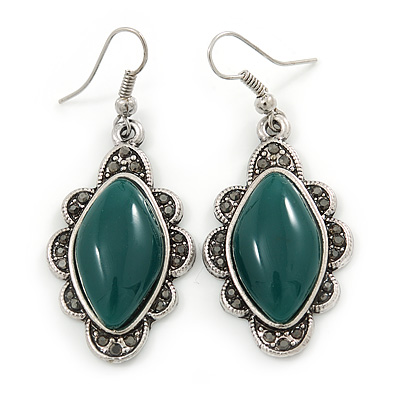 Victorian Style Green Ceramic Stone Diamond Drop Earrings In Silver Tone - 50mm L - main view