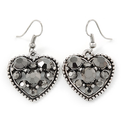 Hematite Crystal Heart Drop Earrings In Silver Tone - 40mm L