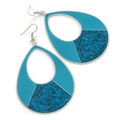 Large Teal Enamel With Glitter Oval Hoop Earrings In Silver Tone - 90mm L