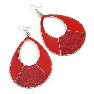 Large Red Enamel With Glitter Oval Hoop Earrings In Silver Tone - 90mm L