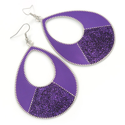 Large Purple Enamel With Glitter Oval Hoop Earrings In Silver Tone - 90mm L