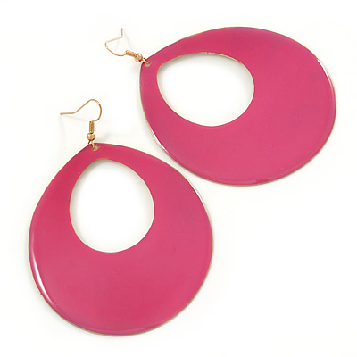 Large Fuchsia Enamel Oval Hoop Earrings In Gold Tone - 85mm L