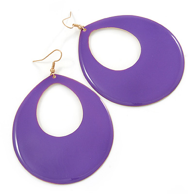 Large Purple Enamel Oval Hoop Earrings In Gold Tone - 85mm L