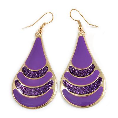 Purple Enamel With Glitter Teardrop Earrings In Gold Tone - 65mm L