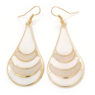 White Enamel With Glitter Teardrop Earrings In Gold Tone - 65mm L