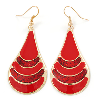 Red Enamel With Glitter Teardrop Earrings In Gold Tone - 65mm L