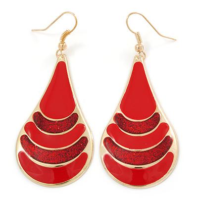 Red Enamel With Glitter Teardrop Earrings In Gold Tone - 65mm L
