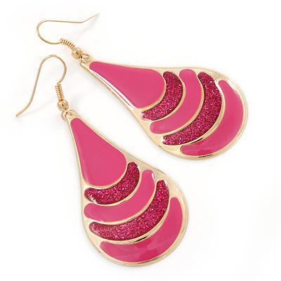 Pink Enamel With Glitter Teardrop Earrings In Gold Tone - 65mm L