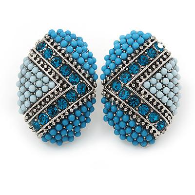 Boho Style Blue/ Teal/ Light Blue Beaded Oval Stud Earrings In Silver Tone - 25mm L