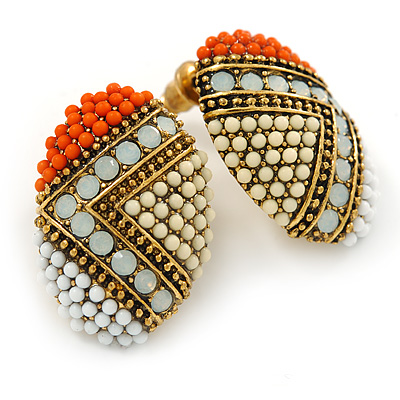 Boho Style Orange/ Cream/ White Beaded Oval Stud Earrings In Gold Tone - 25mm L