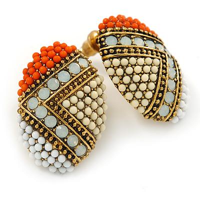 Boho Style Orange/ Cream/ White Beaded Oval Stud Earrings In Gold Tone - 25mm L - main view