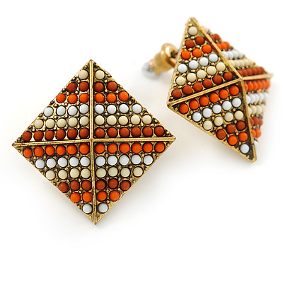 Boho Style Orange/ Cream/ White Beaded Square Stud Earrings In Silver Tone - 25mm - main view