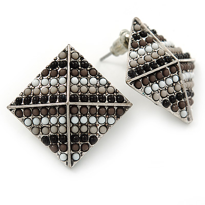Boho Style Black/ Grey/ White Beaded Square Stud Earrings In Silver Tone - 25mm