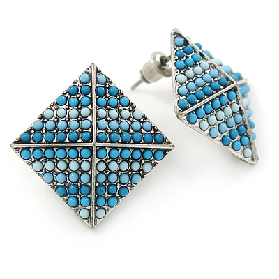 Boho Style Blue/ Light Blue/ Pale Blue Beaded Square Stud Earrings In Silver Tone - 25mm
