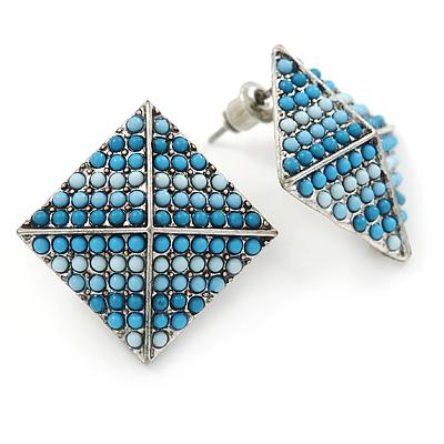 Boho Style Blue/ Light Blue/ Pale Blue Beaded Square Stud Earrings In Silver Tone - 25mm