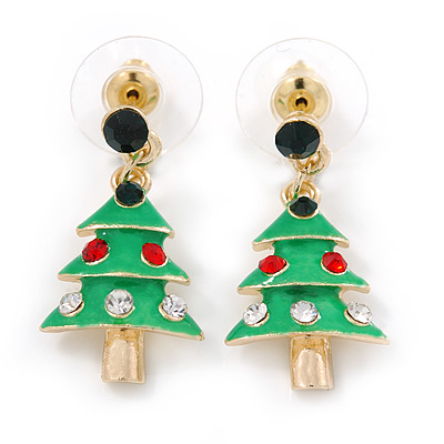 Green Enamel Crystal Christmas Tree Drop Earrings In Gold Plating - 27mm Length - main view