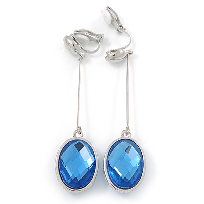 Light Blue Oval Faceted Glass Stone Metal Bar Drop Clip On Earrings In Silver Tone - 65mm L