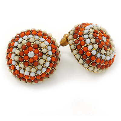 Boho Style Orange/ Cream/ White Beaded Dome Stud Earrings In Gold Tone - 22mm - main view
