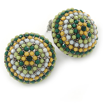 Boho Style Green/ Yellow/ White Beaded Dome Stud Earrings In Silver Tone - 22mm - main view