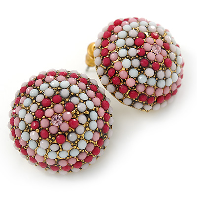 Boho Style Deep Pink/ White/ Baby Pink Beaded Dome Stud Earrings In Gold Tone - 22mm - main view