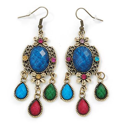 Multicoloured Acrylic Bead Chandelier Earrings In Antique Gold Tone - 75mm L - main view