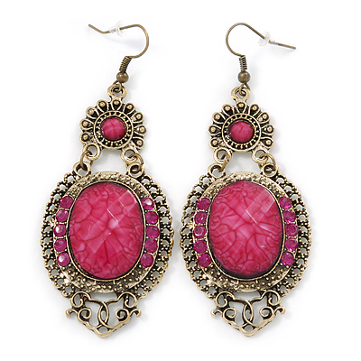 Victorian Style Magenta Acrylic Bead, Crystal Chandelier Earrings In Antique Gold Tone - 80mm L