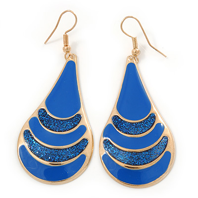 Royal Blue Enamel With Glitter Teardrop Earrings In Gold Tone - 65mm L