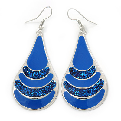Royal Blue Enamel With Glitter Teardrop Earrings In Silver Tone - 65mm L