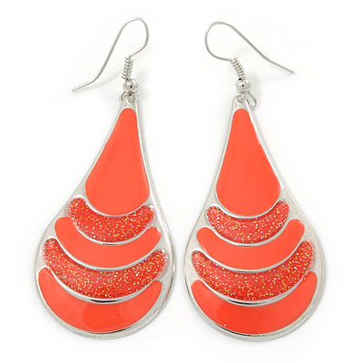 Coral Enamel With Glitter Teardrop Earrings In Silver Tone - 65mm L