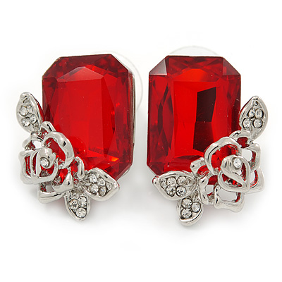 Red Square Glass with Rose Motif Stud Earrings In Rhodium Plating - 25mm L