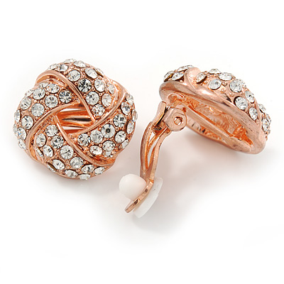 Rose Gold Tone Crystal Knot Clip On Earrings - 20mm D