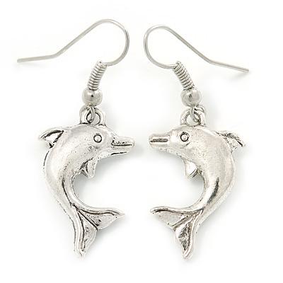 Silver Tone Dolphin Drop Earrings - 40mm L