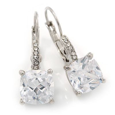 Pear Cut Clear CZ, Crystal Drop Earrings In Rhodium Plating With Leverback Closure - 30mm L - main view