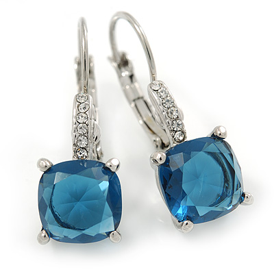 Pear Cut Cobalt Blue CZ/ Clear Crystal Drop Earrings In Rhodium Plating With Leverback Closure - 30mm L